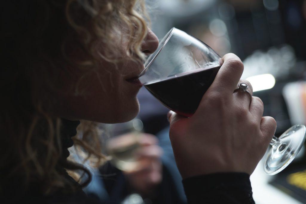 woman having wine