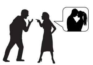 drawing of couple discussing over cheating