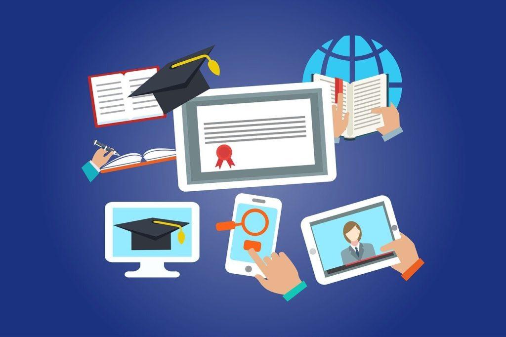 several symbols for e-learning