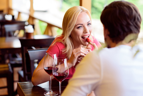 couple having small talk at restaurant