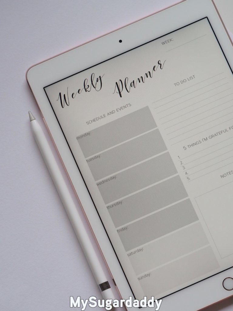 weekly planner for making time for one's partner