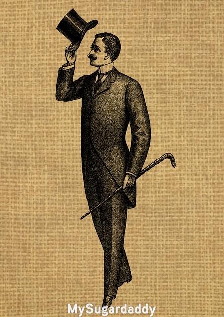 drawing of gentleman on brown background
